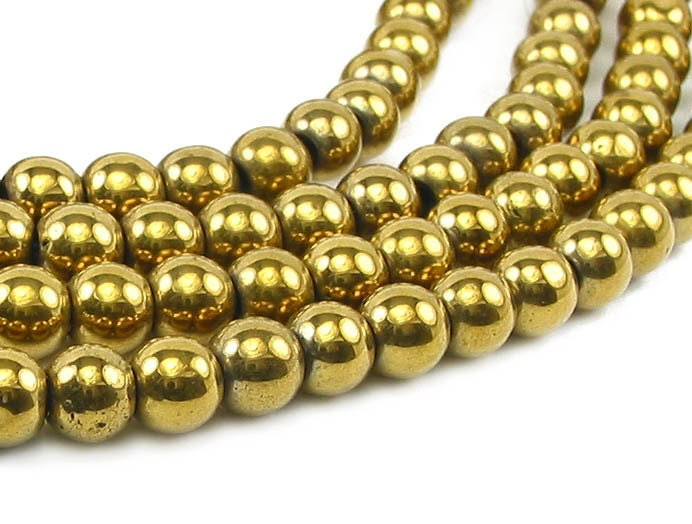 "16"" 3mm Gold plated Hematite round Beads gemstone - non magnetic - LifeForceGems"