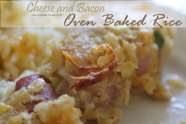 Cheese and Bacon Oven Baked Rice