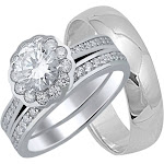 His and Her Sterling Silver Wedding Rings Set 15 / 6 / Silver