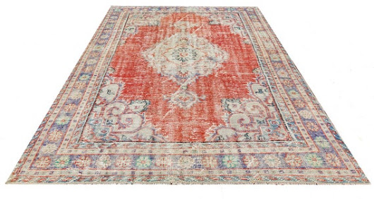 Red TURKISH OUSHAK RUG Eclectic Saloon Room Size Unique Hand