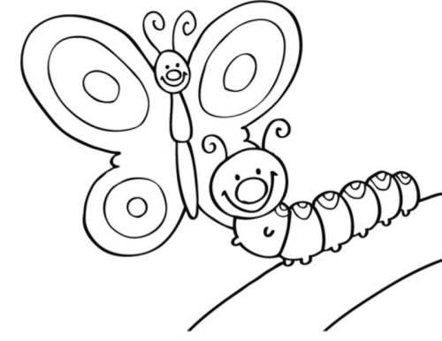 ausmalbild raupe kostenlos  cartoonbild