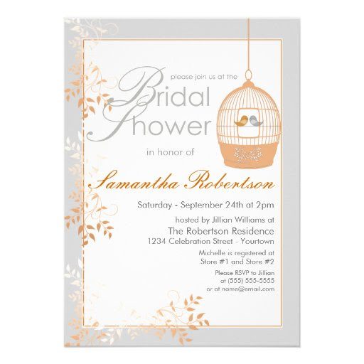 Love Birds Peach Bridal Shower Invitations from Zazzle.com