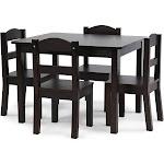 Tot Tutors Kids' Table and 4-chair Set, Espresso Wood
