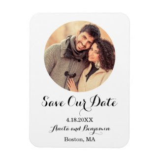 Elegant Minimalist Photo Save the Date Rectangle Magnets