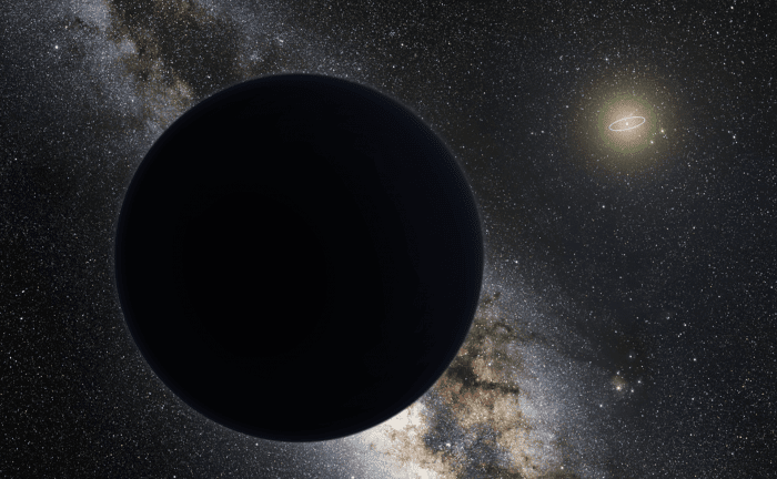 Artist's impression of Planet Nine as an ice giant eclipsing the central Milky Way. Credit: ESO/Tomruen/nagualdesign