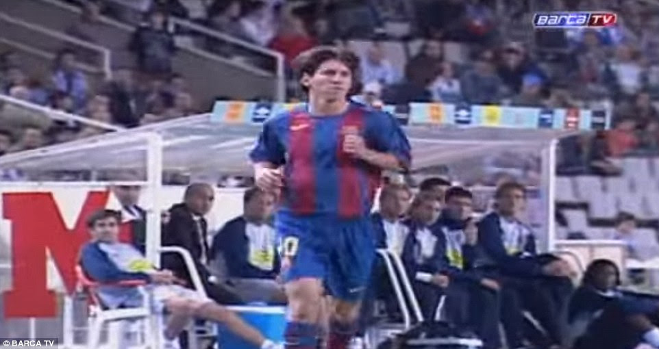The Argentine forward has change dramatically since his Barcelona debut, pictured here as a 17-year-old in October 2004