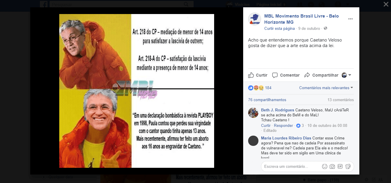 Post do MBL sobre Caetano Veloso - pedofilia