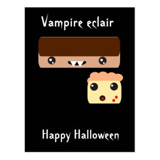 "Vampire eclair ""Happy Halloween"" Post Cards"
