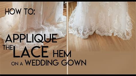 How to sew a lace applique hem onto a bridal gown. Hem a