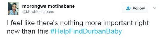 Twitter user Morongwa Motlhabane writes: