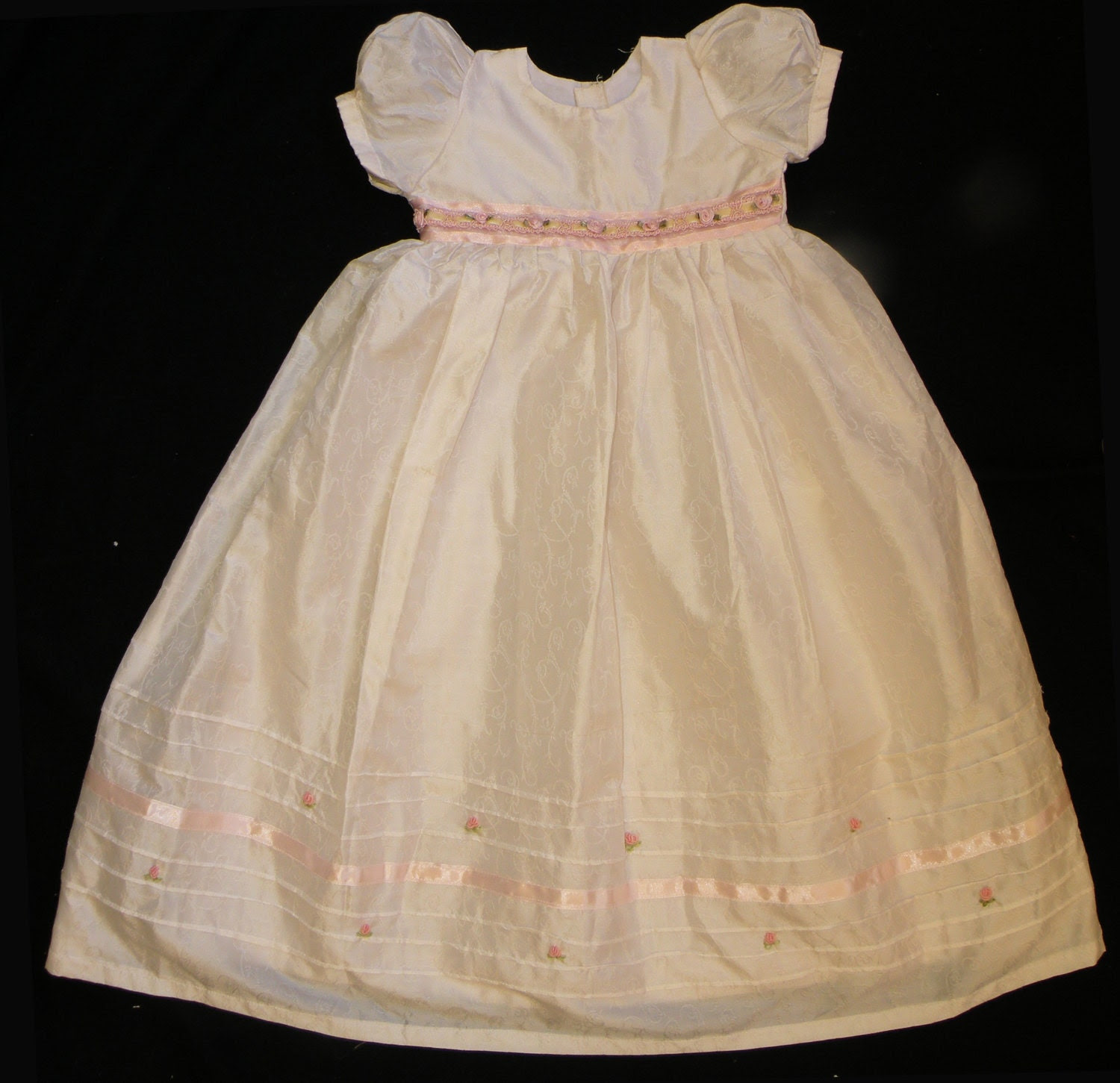 HIGH QUALITY Silk Christening, Christening Gown, Christening Dress, Blessing Gown, with Ribbon Embroidered Lace and Bonnet 6 MONTHS