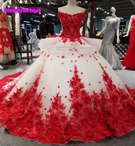 CloverBridal off the shoulder ball gown red and white lace