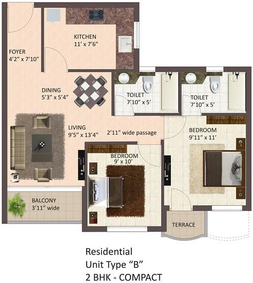 Tata La Montana Talegoan: 2 BHK Flat, B Type, Compact, Optima,844 sq.ft. Saleable Area