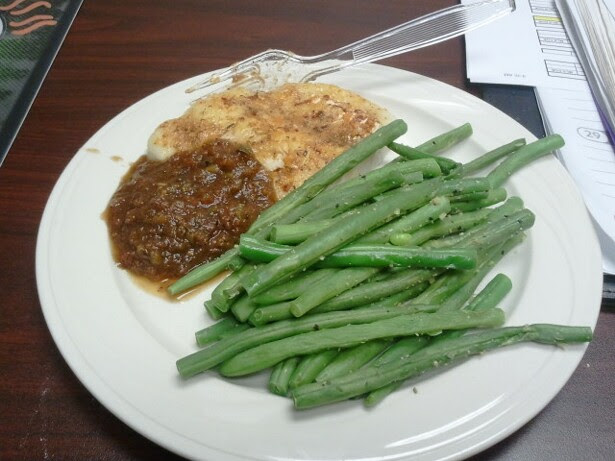 snack 2 - 4 oz grilled chicken breast, salsa, green beans