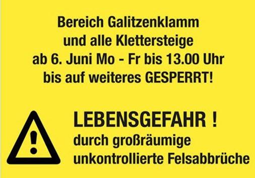 SPERRE GALITZENKLAMM   Klettersteige