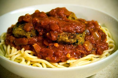 Spaghetti and T-Balls with Marinara Sauce