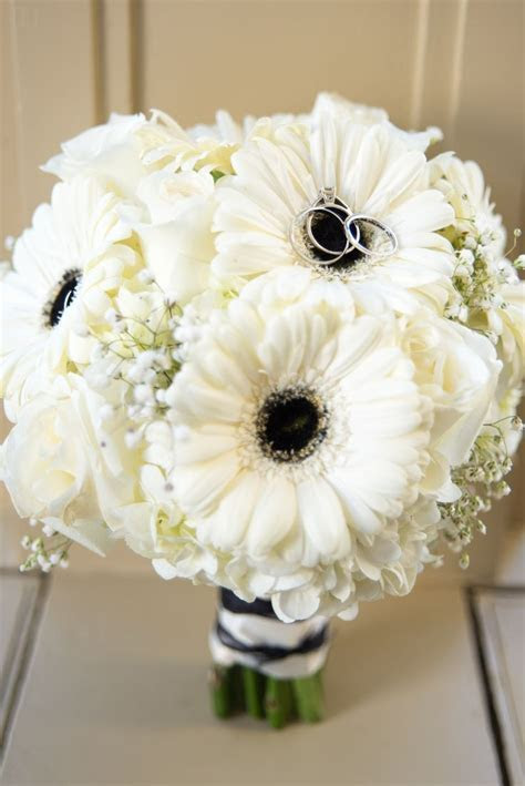 Black and white Gerbera daisy bouquet by Flowers Make