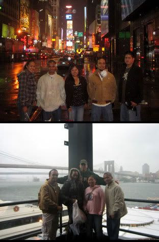 IMAGE 1: Me and my friends posing in front of Times Square.  IMAGE 2: Me and my friends posing in front of the Brooklyn Bridge... Lousy rain.