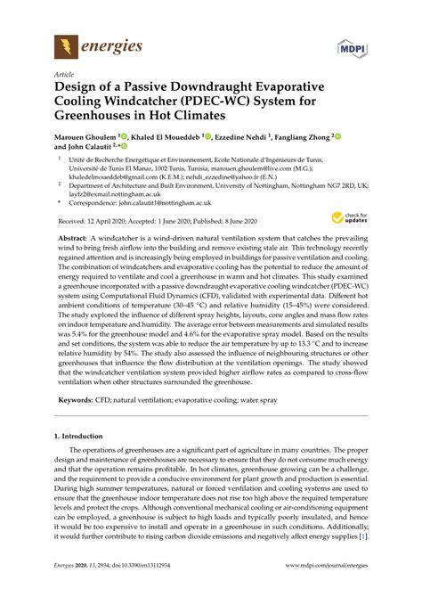(PDF) Design of a Passive Downdraught Evaporative Cooling
