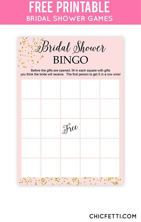 Blush and Confetti Bridal Shower Bingo   Free Printables