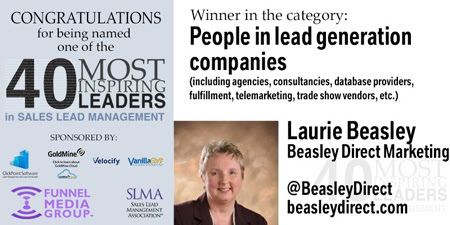 Laurie Beasley wins 2017 SLMA 40 Most Inspiring Leaders-Beasley Direct