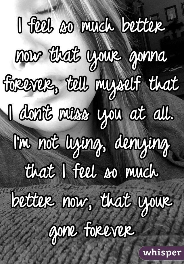 I Feel So Much Better Now That Your Gonna Forever Tell Myself That