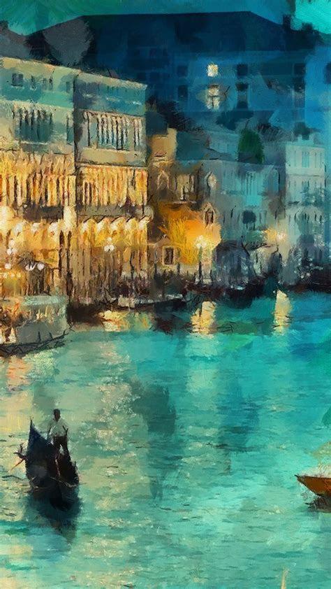 papersco iphone wallpaper aq art classic painting water lake night