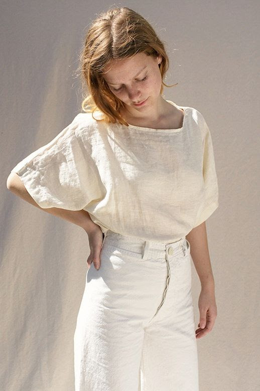 Le Fashion Blog Relaxed Boho Style All White Look Loose Linen Top Cropped Wide Leg Trousers Via The General Store