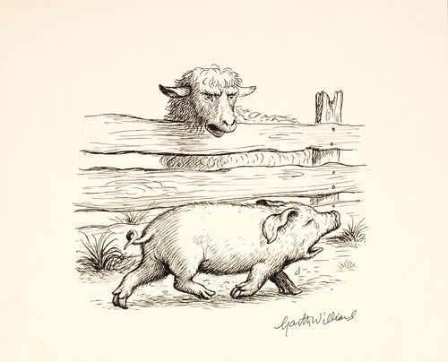 black ink sketch of trotting baby pig next to talking sheep