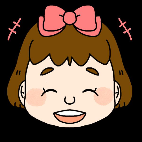 女の子の笑った顔のイラスト かわいいフリー素材が無料のイラストレイン