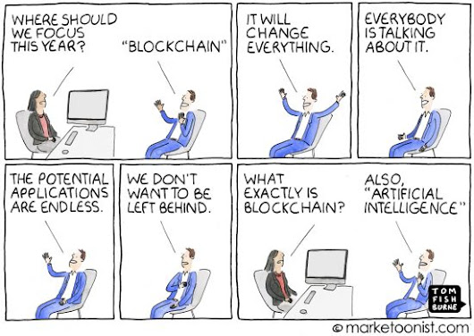 The Blockchain Bandwagon cartoon | Marketoonist | Tom Fishburne