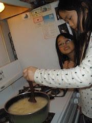 Girls Making Lemon Honey Jelly