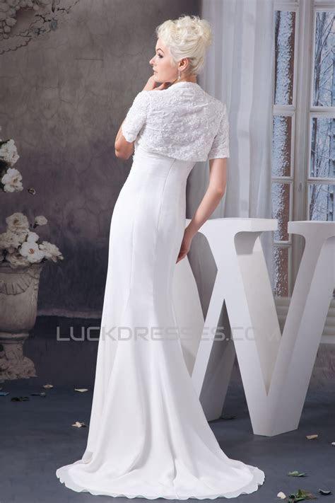Sheath/Column Sleeveless Strapless Chiffon Wedding Dresses