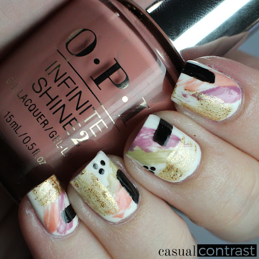 Abstract Nail Art Manicure featuring OPI Iceland Infinite Shine Shades • Casual Contrast