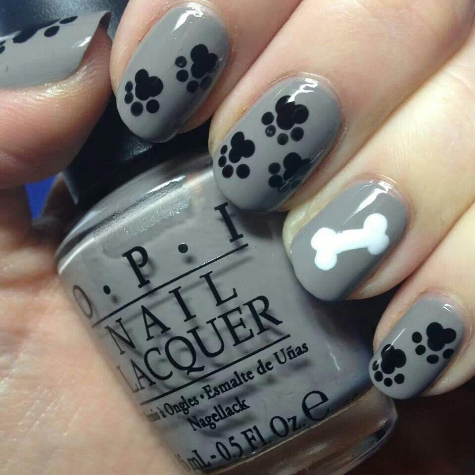Cute puppy paw print nails | Nails | Pinterest