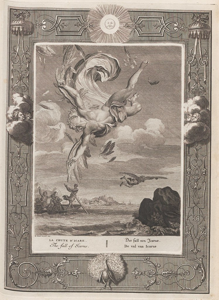 b&w figure of winged icarus from mythology plummets out of control to earth