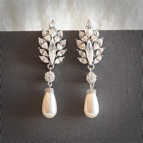 Vintage Style Swarovski Teardrop Pearl Drop Dangle Bridal