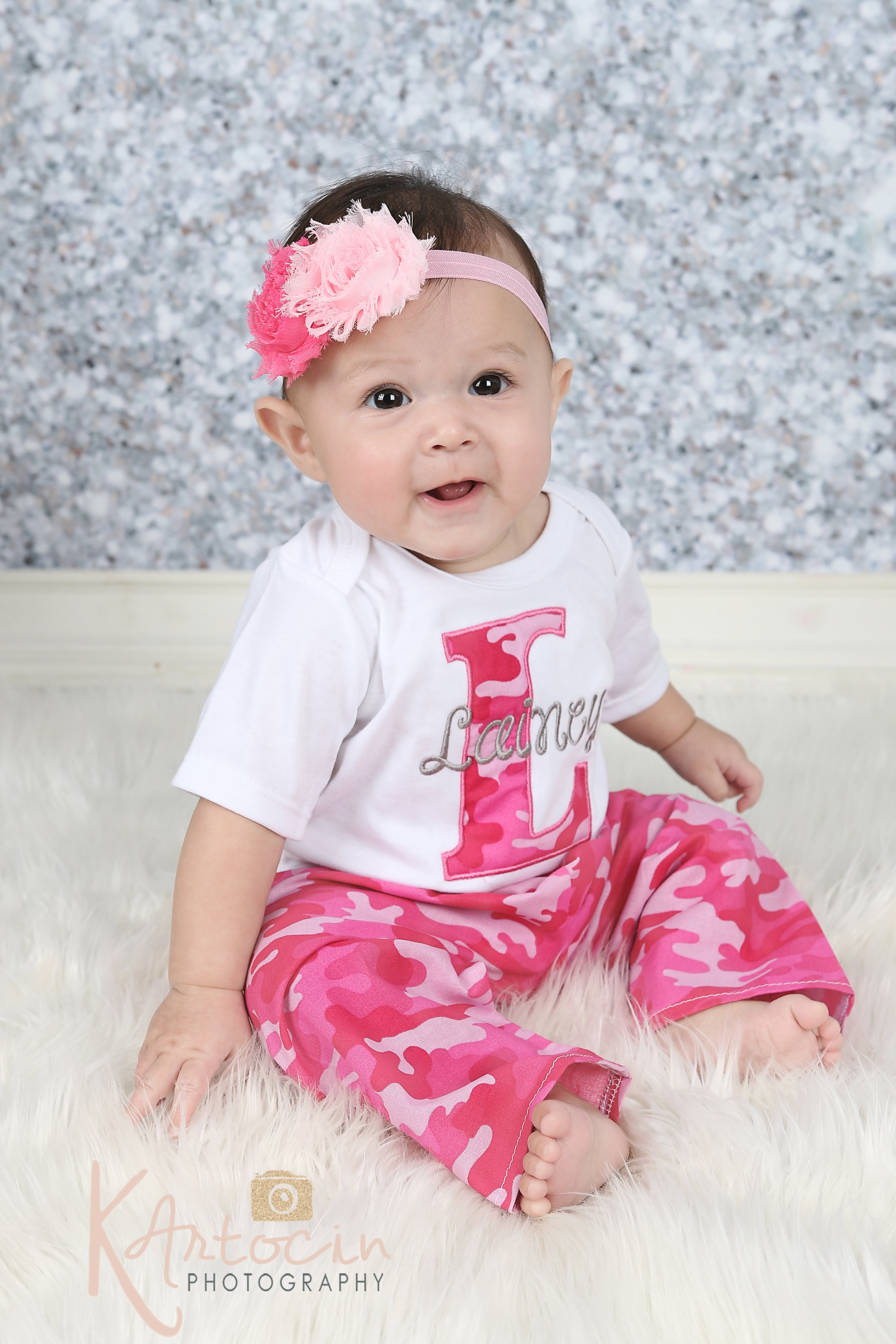 personalized baby girl clothes  pink camo pants outfit