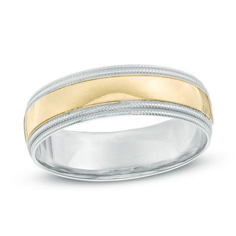 Men's 6.0mm Milgrain Wedding Band in 14K Two Tone Gold