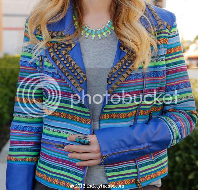 Boohoo Boutique Penny woven stud jacket, neon rhinestone necklace, ethnic print geometric stud moto jacket