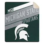 "Officially Licensed NCAA Cloud Throw Blanket with Sherpa Back, 60"" x 70"" - Michigan State"