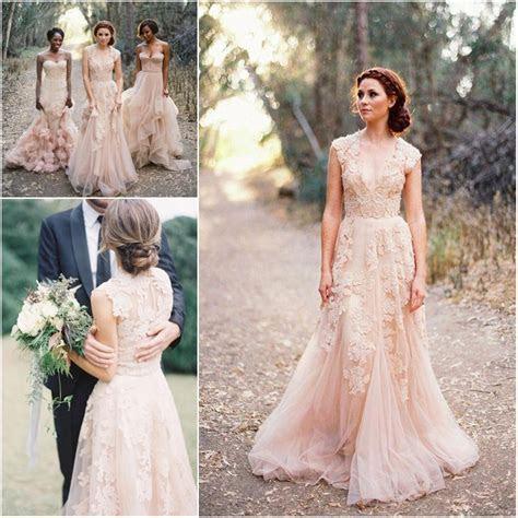 Custom Made V Neck Lace Wedding Dresses 2017 Puffy Bridal