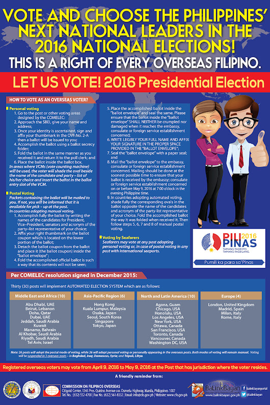 Where to Vote for Overseas Philippine Presidential Election?
