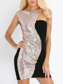 Black Gold Sequined Sleeveless Dress