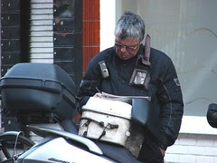 Courier reading. Crawford Street, London.