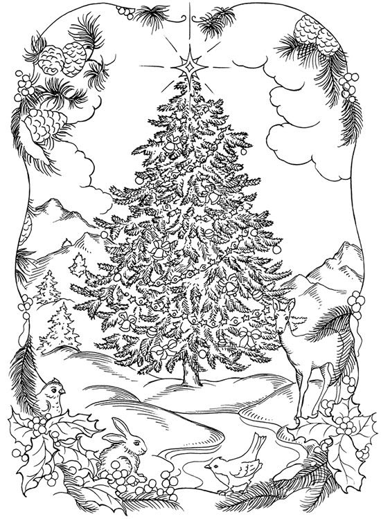 Christmas Adult Coloring Pages Free at GetDrawings | Free ...
