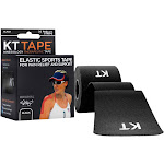 KT Tape Elastic Pre-Cut Strips Athletic Tape, Black - 20 count