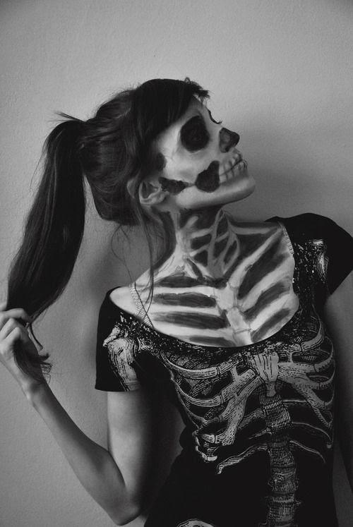 Skeleton Halloween T shirt costume and face makeup.