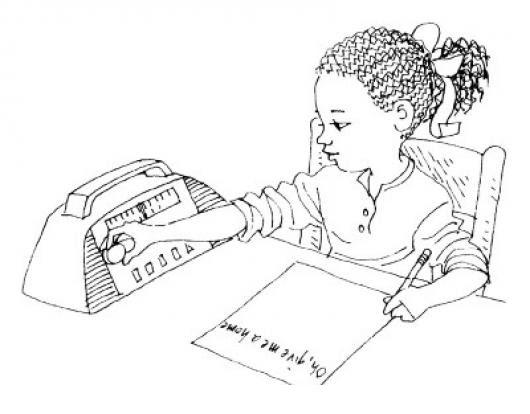 Dibujo De Una Negrita Escuchando La Radio Y Escribiendo Una Carta