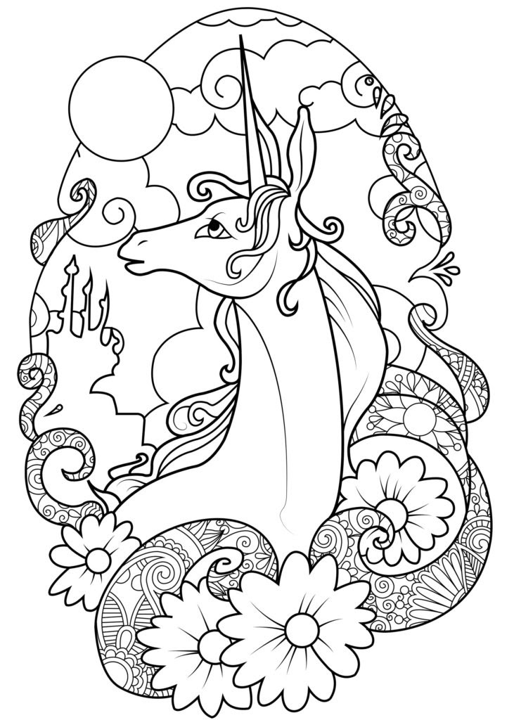 Unicorn Coloring Pages for Adults - Print Color Craft